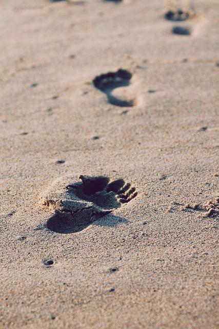 hoja hoja z bosimi nogami pesek